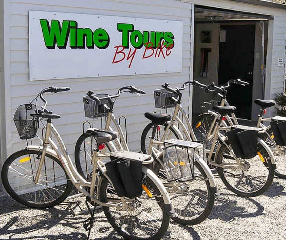 one of the best marlborough wine tours is the wine by bike tour in Renwick. This is a photo of the bikes outside the building.