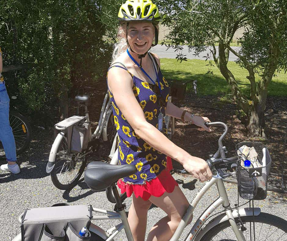 a photo of me on the bike at one of the best marlborough wine tours