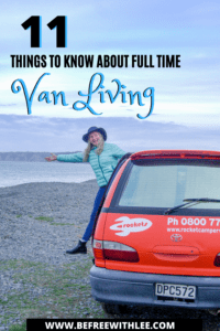A pinterest image to save about this van living full time article