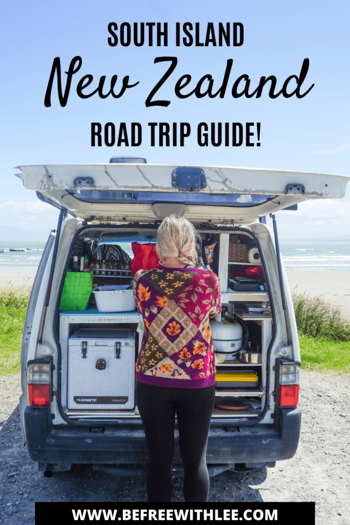 an image of the south island road trip and south island travel guide to add to your pinterest
