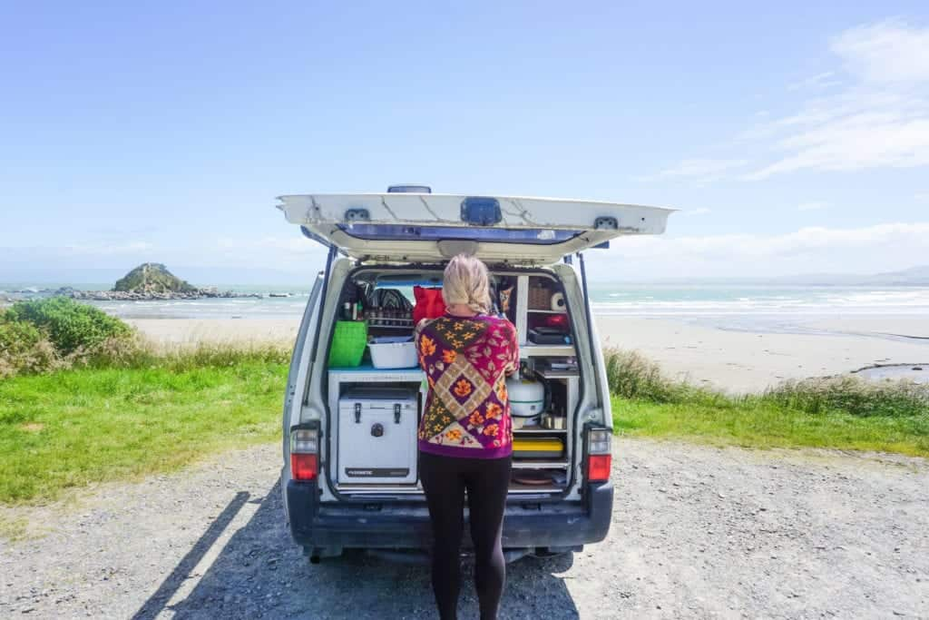 A stunning photo of my campervan down in Invergargill a must stop on your South Island road trip!